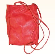 Supple Red Leather Shoulder Bag Purse