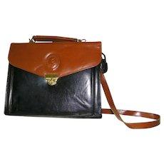 Black Large Structured Handbag, Cordovan Trim Shoulder Bag