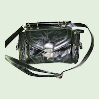 Multi Compartments Black Patent Handbag converts to Shoulder Bag