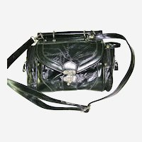 Multi Compartments Black Patent Handbag converts to Shoulder Bag