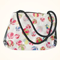 Silk Obi Purse Reversible vinyl cover by Waka Ozawa Beachballs and Flower Motifs