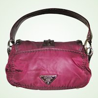 Prada Burgundy Nylon and Patent Leather Cashier's Bag Purse Handbag.