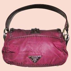 Prada Burgundy Nylon and Patent Leather Cashier's Bag Purse Handbag.