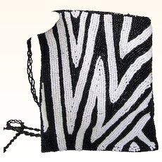 Black and White Beaded Evening Bag Purse  Cross Body bag