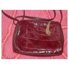 Genuine Red  Leather  Shoulder Bag Embossed Alligator