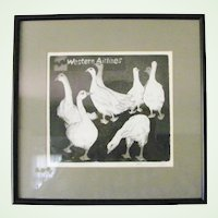 Original vintage etching Western Airlines whimsical geese by Betty McDonald