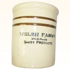 Beater Crock Stoneware Butter Cheese Welsh Farms Dairy Advertising Jar
