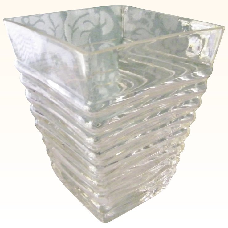 Trapezoid Ribbed Clear Glass Vase Art Deco Kitchengarden Purses