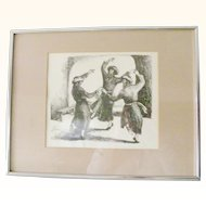 Bulgarian Dancers in the Quarter Etching signed by Shari
