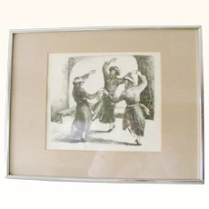 Bulgarian Dancing Etching signed by Shari