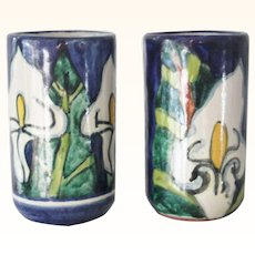 2 Signed Vintage Talavera Pottery Tumblers Cups Vases Calla Lily