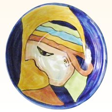 Amora Pottery Display Bowl Abstract Boy Multi Color Cap