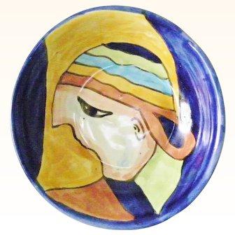 Amora Pottery Display Bowl Abstract Boy Multi Color Cap