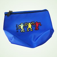 Vintage New  Blue Keith Haring Cosmetic Bag Pop Art