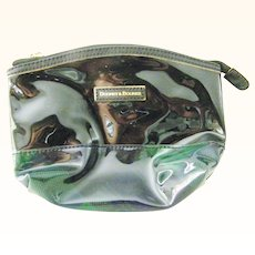 Vintage NEW Dooney & Bourke Cosmetic Bag Black Patent and Green Plaid
