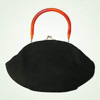 Garay Black Wool Handbag Rootbeer Lucite Handle