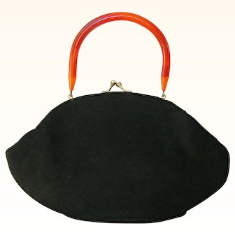 Garay Black Wool Handbag Rootbeer Lucite Handle