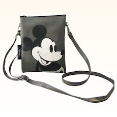 Gray Mickey Mouse Faux Leather Crossbody Handbag Purse