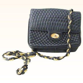 Bally Black Leather Crossbody Handbag Shoulder Bag Mint