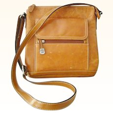 Giani Bernini Light Brown Cognac Saddle Bag color Shoulder Bag Crossbody bag Purse