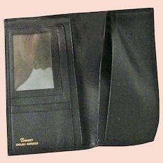 Black Baronet English Morocco Leather Fold Over checkbook Wallet