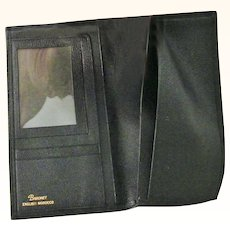 Black Baronet English Morocco Leather Fold Over checkbook Wallet
