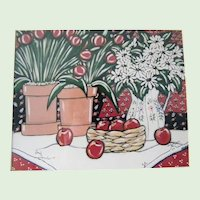 Brooke Howie Framed Lithograph Red Apples and Tulips Artwork
