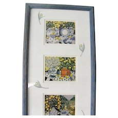 3 Brooke Howie Framed Lithographs Yellow and Blue French Country