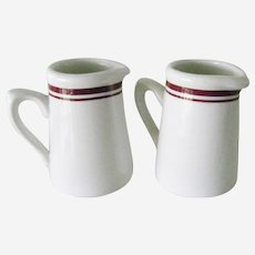 2 Dudson Brothers China Restaurant Ware China pitchers Red and White