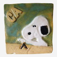Hand Made Hand Painted Snoopy Tile