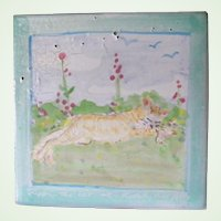 Unique Ceramic Tile Cat Relaxing in a flower field