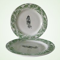 2 Mayer China Restaurant Ware  Dinner Plates  Thai Restaurant Green Bamboo Oriental Figures