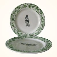2 Mayer China Restaurant Ware Dinner Plates  Green Bamboo Oriental Figures