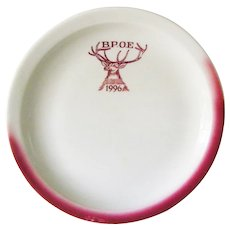 Elks Lodge BPOE 1996 Tepco China Red and White Restaurant Ware Salad Plate.