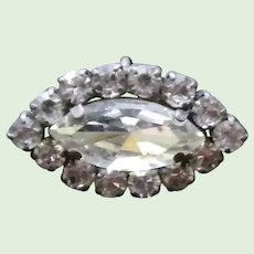 Marquise and Round Rhinestone Brooch Pendant Pin
