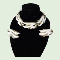Monet White Lucite Bracelet and matching Earrings Set