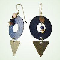 Modernist Copper, Metal, Bead and Wood Dangle Earrings