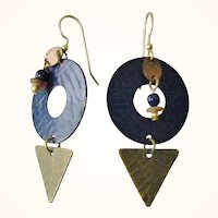 Modernist Copper, Metal, Bead and Wood Dangle Earrings