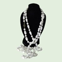 Hand Tied Czech White Milk Glass Beaded Neckace 1940's