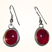 Hand Made Red Cabochon Earrings