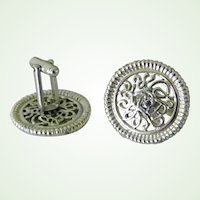Large Round Silvertone Filigree Cuff Links