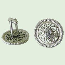 Large Round Silvertone Filigree Cuff Links