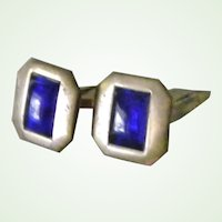 Vintage Square Brass Tone and Blue Cuff links