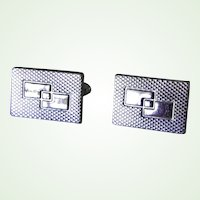 Modernist Silvertone Cuff Links