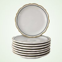 8 Syracuse China Restaurant Ware Plates Gold and Black Dorado pattern