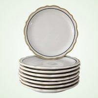 8 Syracuse China Restaurant Ware Plates Gold and Black Dorado pattern