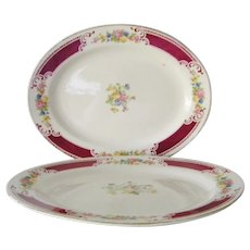 Two Homer Laughlin Restaurant Ware Oval Platters Majestic pattern