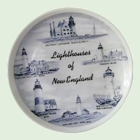 Lighthouses of New England Souvenir plate by Homer Laughlin Snow White