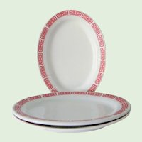 """3  Restaurant Ware Red and White Oval Platters 10"""""""