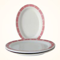 3  Restaurant Ware Red and White Oval Platters Chinese Oriental Asian 10 inch long